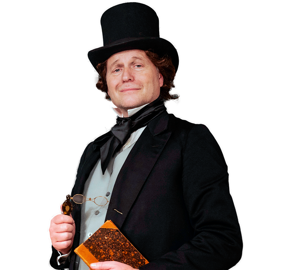 Photo of an actor dressed up as Hans Christian Andersen
